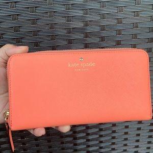 Kate Spade zip around wallet - guava color